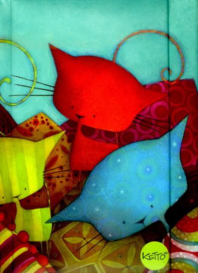 Calendrier Semi.Journal Semi Format Chats Bleu Et Rouge Ketto