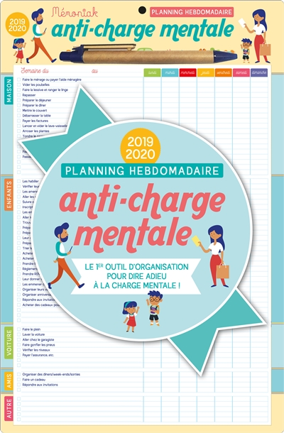Planning hebdomadaire anti-charge mentale 2019-2020 | 9782377613076 | Agenda et Calendrier et journaux intime